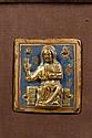 Plaque en cuivre champlevé, émaillé et doré avec figure en fort relief du Christ bénissant. Email bleu, rouge. Le Christ est assis sur