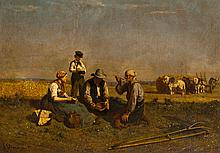 Jules VEYRASSAT (1828-1893) Le repas des moissonneurs