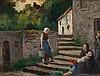 Maximilien LUCE (1858-1941) Rolleboise, conversation devant la chaumière