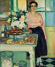 Henri OTTMANN (1877-1927) Portrait présumé de Madame Sénéquier dans sa