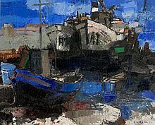 Bernard CATHELIN (1919-2004) Bateaux au port, 1957