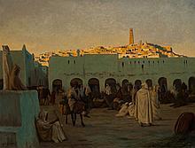 August Johannes LEGRAS (1864-1915) Scène de marché à Ghardaïa