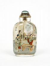 Flacon tabatière en verre de forme rectangulaire, aux épaules arrondies, peint à l'intérieur de scènes tirées du roman