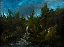 Gustave COURBET et Cherubino PATA Cascade, circa 1874 Huile sur toile, porte une signature en bas à droite 60 × 83 cm (Restaurations...