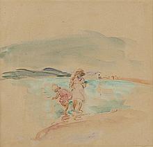 Henri LEBASQUE (1865-1937) Baigneuses Aquarelle 19,5 × 20,5 cm Nous remercions Madame Bazetoux qui nous a verbalement confirmé l'aut..