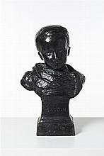 Henri CROS (1840-1907) Portrait d'enfant, Gaston Bronze à patine noire signé et daté 1875 sur le socle H 50 cm