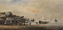 Victor Gabriel GILBERT (1847-1935) Marine animée Deux huiles sur panneaux signés, l'un en bas à droite, l'autre en bas à gauche 18 x...