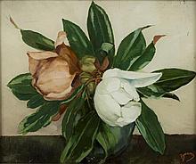 Etienne Adrien DRIAN (1885-1961) Les Magnolias Fixé sous verre signé en bas à droite 38 x 46 cm