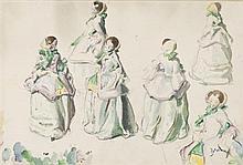Etienne Adrien DRIAN (1885-1961) Six élégantes Aquarelle, signée en bas à droite 30 x 45 cm