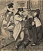 Théophile Alexandre STEINLEN (1859-1923) Le complot Dessin au fusain et au crayon bleu signé en bas à droite 43 x 36,5 (Déchirure) P...