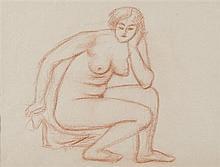 Aristide MAILLOL (1861-1944) Baigneuse accroupie Dessin à la sanguine 26 x 33,5 cm Provenance : collection Lucien Maillol Ce dessin ...
