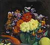 Etienne Adrien DRIAN (1885-1961) Le vase de Dahlias Fixé sous verre signé en bas à gauche 34 x 39 cm