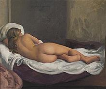 Maurice EHLINGER (1896-1981) Repos du modèle Huile sur toile signée en bas à gauche 46 x 55 cm