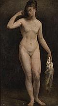 Attribué à Paul BAUDRY (1828-1886) Baigneuse Huile sur toile, porte un cachet de cire rouge de vente au verso Et une étiquette BAUDR...