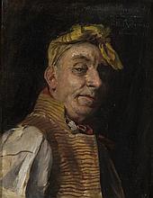 Georges Antoine ROCHEGROSSE (1859-1938) Autoportrait présumé en Scapin Huile sur toile signée en haut à droite et dédicacée ...