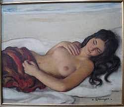 MAURICE EHLINGER (1896-1981) - Nu devant la mer
