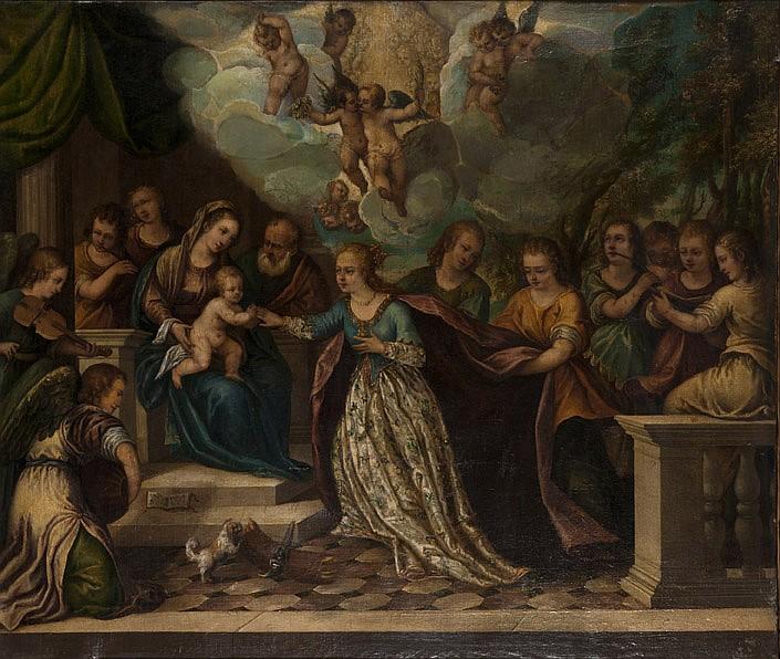École VÉNITIENNE vers 1580, entourage de Hans ROTTENHAMMER Le Mariage de sainte