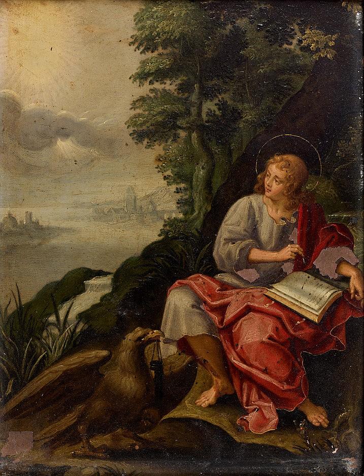 Attribué à Hans ROTTENHAMMER (1564-1625) Saint Jean à Patmos Cuivre avec rehauts d'or 23 x 17 cm (Manques) Dans un cadre en chêne sc..