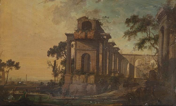Pierre Antoine PATEL le jeune (Paris 1646 ou 1648-1707) Ruines antiques animées de personnages Paire de gouaches  Dimensions à vue :...