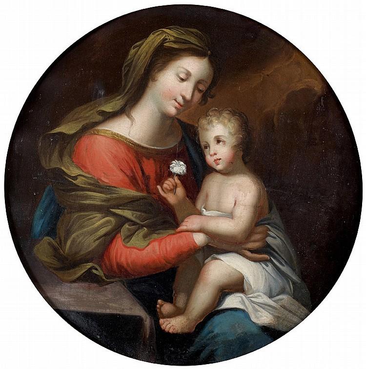 École PROVENÇALE du XVIIe siècle, entourage de Nicolas MIGNARD Vierge à l'Enfant