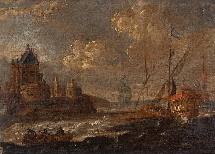 Attribué à Peter van den VELDE (Anvers 1634-1687) Marine aux abords d'une ville portuaire