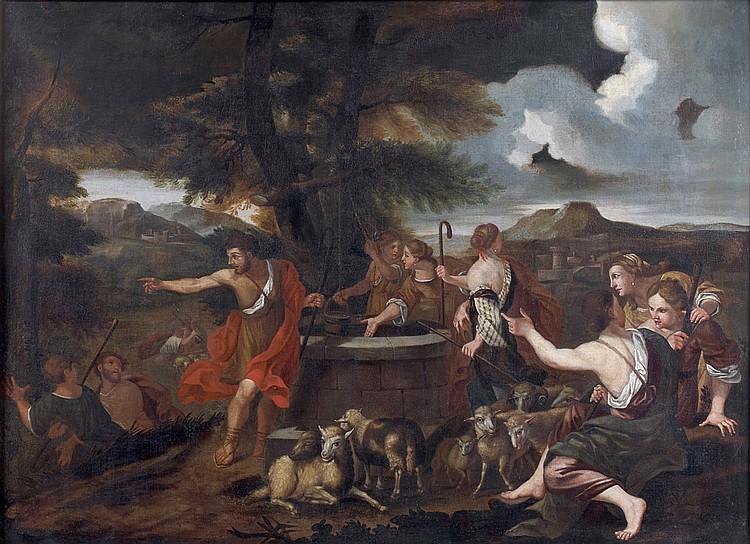 École ROMAINE du XVIIe siècle, entourage de Carlo CIGNANI Moïse défendant les filles de Jéthro