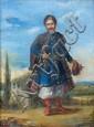École d'EUROPE de l'EST vers 1810 Portrait d'homme en costume polonais Sur sa toile d'origine 32 x 24 cm (Accident et restaurations