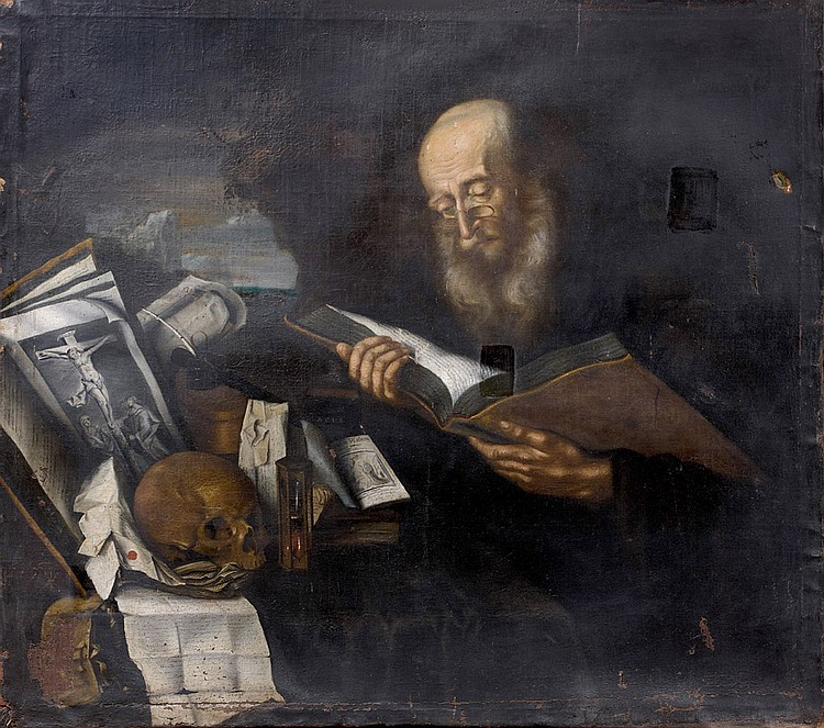 Christian THUM (École suédoise 1625-1686) Ermite lisant