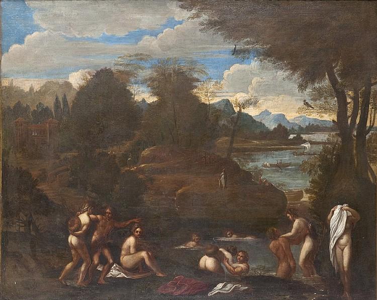 École BOLONAISE du XVIIe siècle, suiveur d'Annibal CARRACHE Baigneuses dans un paysage