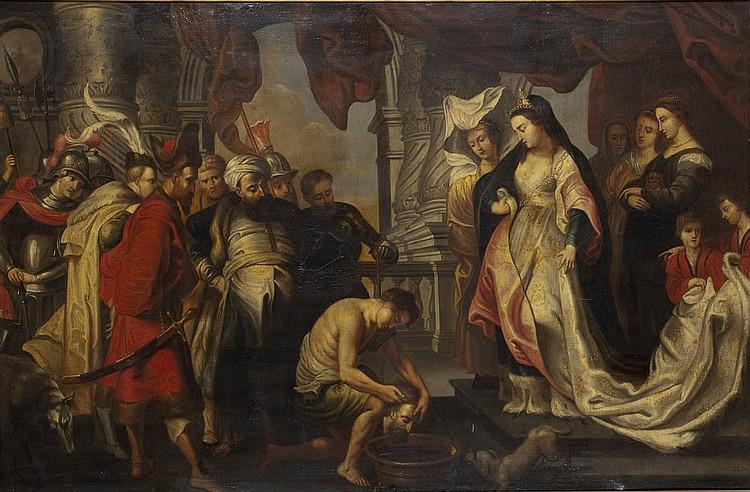 École FLAMANDE du XVIIe siècle, suiveur de Pierre-Paul RUBENS La Reine Thomyris fait plonger la tête de Cyrus dans une outre pleine de