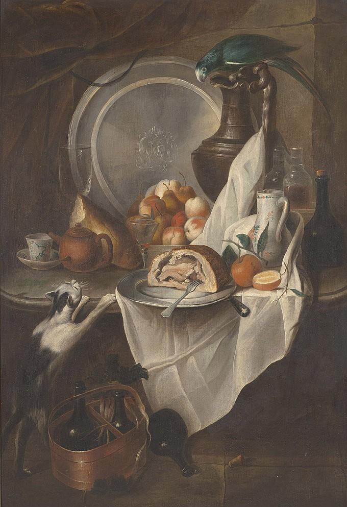 Entourage d'Alexandre-François DESPORTES (1661-1743) Nature morte aux fruits et au jambon avec un chat et un perroquet