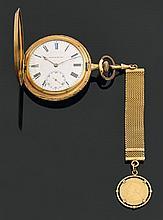 Montre de poche de forme savonnette en or jaune uni, au remontoir au pendants: la carrure gravée de feuilles d'eau. Cadran émaillé b..