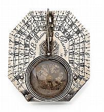 Cadran solaire en argent de forme octogonale, signé sur la platine