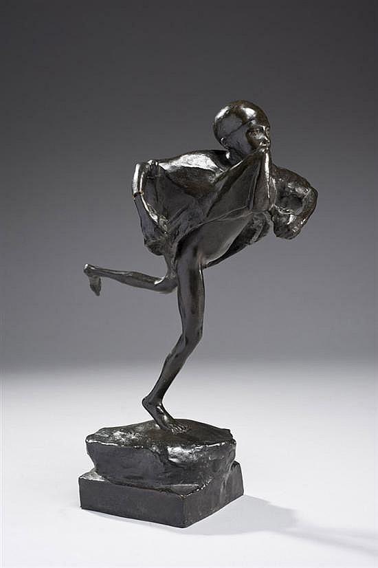 Paul LANDOWSKI (1875-1961) Enfant courant, Le voleur d'oranges, 1905 Bronze à patine brune Numéroté