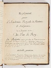 BEAUX-ARTS. ACADÉMIE ROYALE DE PEINTURE ET DE SCULPTURE. COPIE MANUSCRITE des procès-verbaux d'assemblée de l'Académie, [XVIIIe sièc.