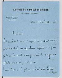 Ferdinand BRUNETIÈRE (1849-1906) écrivain et critique. L.A.S., Paris 15 décembre 1903, à E. de MORSIER ; 6 pages et demie in-8 à en-...
