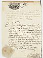 CHAMBERY. 2 P.S., Chambéry 1782-1784 ; cahier de 12 pages in-4 avec cachet Archives de l'Ordre de Malte, et 1 page in-4 avec cachet ..