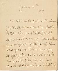 François-René de CHATEAUBRIAND (1768-1848). L.A.S., Genève 3 octobre 1831, [à la Princesse GALITZINE] ; 3 pages in-4. BELLE LETTRE ...