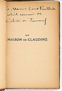 COLETTE (1873-1954). La Maison de Claudine (Paris, J. Ferenczi et fils, [1922]), avec ENVOI autographe signé ; in-12, demi-basane fa...