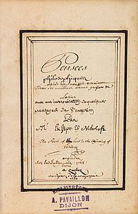 Denis DIDEROT (1713-1784). MANUSCRIT, Pensées philosophiques, 1750 ; volume petit in-8 de [3 bl.]-[4]-56 (1-53)-[5]-[5 bl.] feuillet...