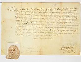 Louis-Charles de Bourbon, comte d'EU (1701-1775) petit-fils de Louis XIV et de Mme de Montespan, fils du duc de Maine, gouverneur gé..