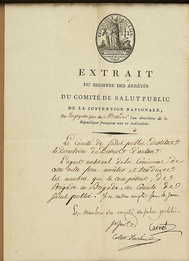 Louis-Antoine SAINT-JUST (1767-1794) conventionnel (Aisne), membre du Comité de Salut public. P.S. comme membre du Comité de Salut p...
