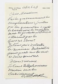 Ossip ZADKINE (1890-1967) sculpteur. 2 L.A.S., 20 et 25 mai 1963 ; 1 page in-8 chaque à son adresse 100 bis, rue d'Assas. 20 mai. ...