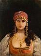 Georges CROGAERT (1848-1923) Portrait d'une jeune orientale Huile sur panneau signé et situé Paris en bas à gauche 32,5 × 24,5...