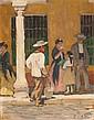 Henri Achille ZO (1873-1933) Scène de rue, Séville Huile sur panneau signé en bas à droite, situé au dos 27 × 22 cm