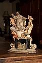 Apothéose d'un Saint franciscain en albâtre polychrome avec rehauts d'or, pierre calcaire et bois polychromé
