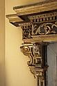 Encadrement de cheminée en bois sculpté, doré et polychromé