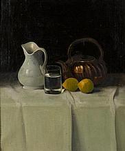 Janosz MOLNAR (1880-1960) Nature morte au verre d'eau Huile sur toile signée en bas à gauche 66 × 55 cm