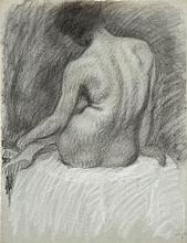 Théophile Alexandre STEINLEN (1859-1923) Modèle de dos Dessin au fusain et à la craie blanche, porte le cachet du monogramme au vers...