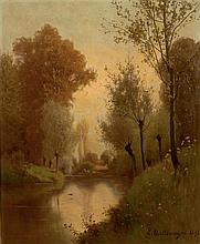 Léon DALLEMAGNE (1837-1907) Paysage au plan d'eau Huile sur toile signée et datée 1891 en bas à droite 62 × 52 cm